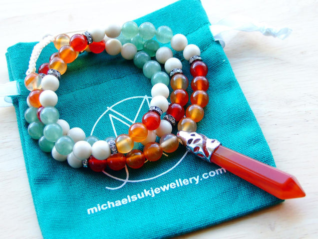 Carnelian Fossil Jasper Natural Gemstone Macrame Necklace-Gemstone Necklaces-Michael's UK Jewellery