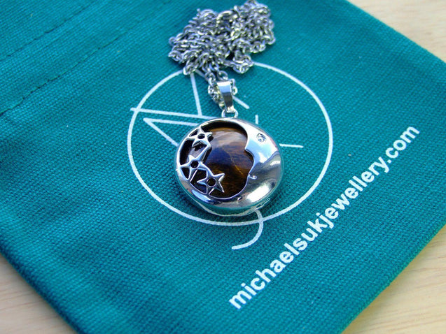 Tigers Eye Moon Natural Gemstone Pendant Necklace 50cm-Pendant Necklace-Michael's UK Jewellery
