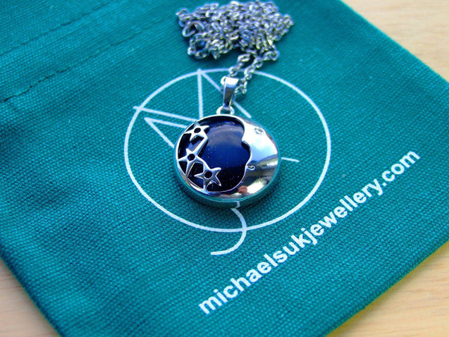 Blue Goldstone Moon Manmade Gemstone Pendant Necklace 50cm-Pendant Necklace-Michael's UK Jewellery