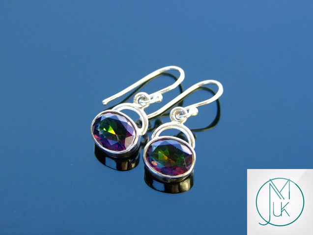 Mystic Quartz Natural Gemstone 925 Sterling Silver Earrings-Sterling Silver Gemstone Earrings-Michael's UK Jewellery