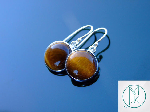 Tigers Eye Natural Gemstone 925 Sterling Silver Earrings-Sterling Silver Gemstone Earrings-Michael's UK Jewellery