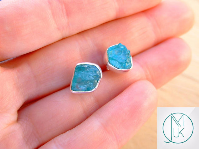 Apatite Natural Gemstone 925 Sterling Silver Earrings-Sterling Silver Gemstone Earrings-Michael's UK Jewellery