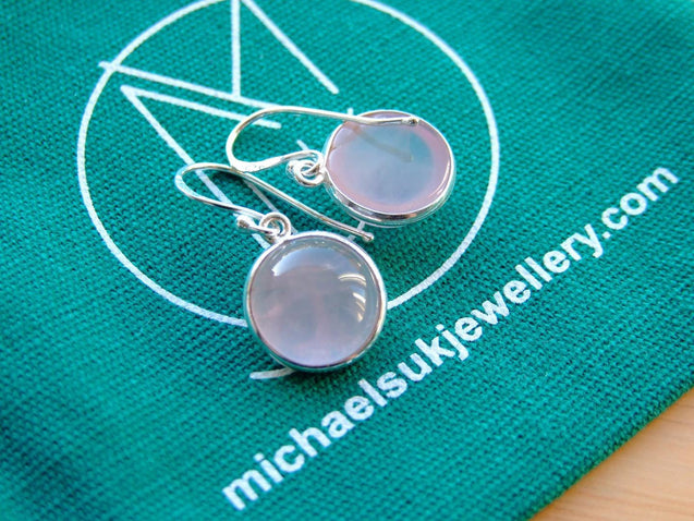 Rose Quartz Natural Gemstone 925 Sterling Silver Earrings-Sterling Silver Gemstone Earrings-Michael's UK Jewellery