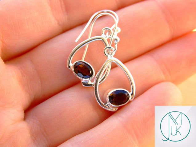 Smoky Quartz Natural Gemstone 925 Sterling Silver Earrings-Sterling Silver Gemstone Earrings-Michael's UK Jewellery