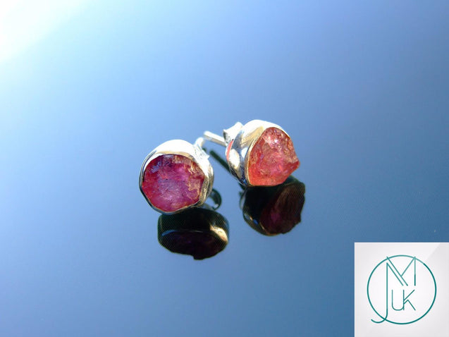Pink Tourmaline Natural Gemstone 925 Sterling Silver Earrings-Sterling Silver Gemstone Earrings-Michael's UK Jewellery