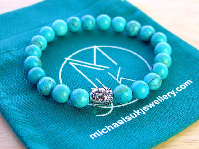 Buddha Turquoise Howlite Dyed Natural Gemstone Bracelet 6-9'' Elasticated-Gemstone Bracelets-Michael's UK Jewellery