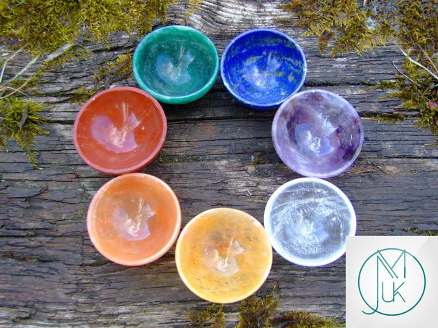 Crystal 7 Chakra 2'' Hand Carved Bowls Natural Gemstones-Gemstone Chakra Set-Michael's UK Jewellery