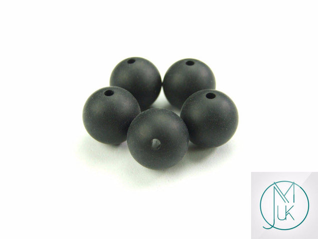 4x 22mm Round Silicone Beads Black-Teething Jewellery-Michael's UK Jewellery