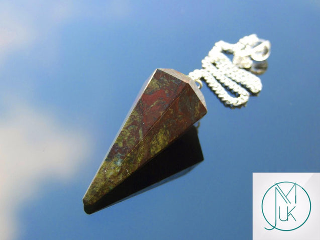 Dragon Stone Natural Gemstone Point Pendulum-Pendulum-Michael's UK Jewellery