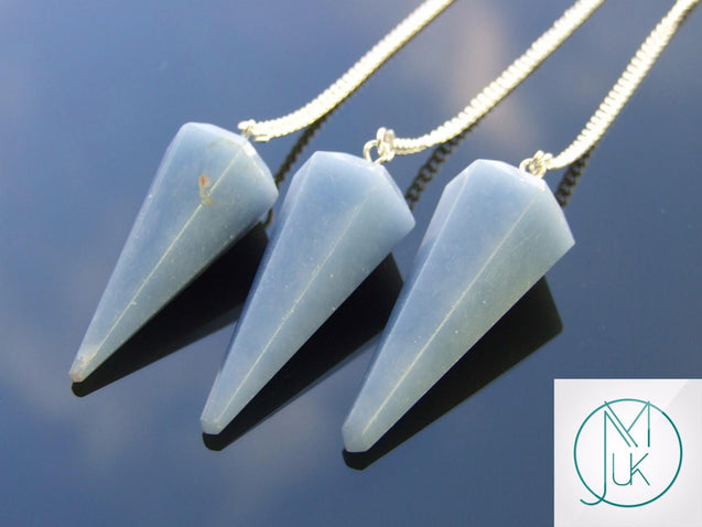 Angelite Natural Gemstone Point Pendulum-Pendulum-Michael's UK Jewellery