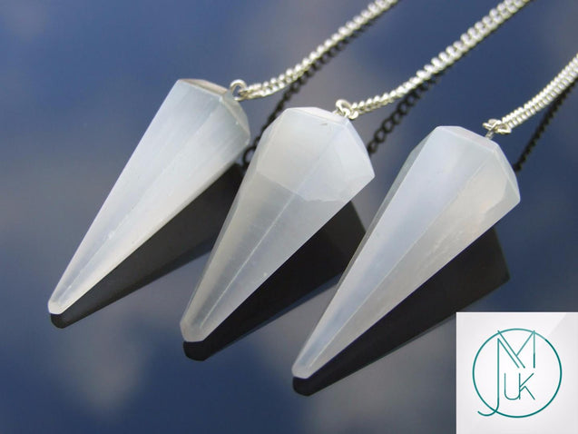 Selenite Natural Gemstone Point Pendulum-Pendulum-Michael's UK Jewellery