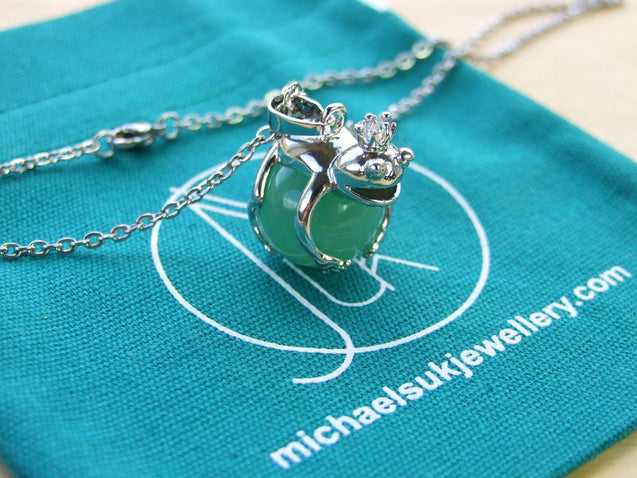 Aventurine Frog Natural Gemstone Pendant Necklace 50cm-Pendant Necklace-Michael's UK Jewellery
