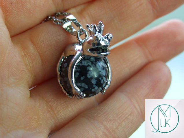 Snowflake Obsidian Frog Natural Gemstone Pendant Necklace 50cm-Pendant Necklace-Michael's UK Jewellery