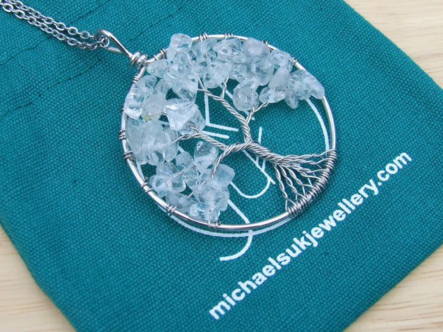 Handmade Rock Crystal Tree of Life Natural Gemstone Pendant Necklace 50cm-Pendant Necklace-Michael's UK Jewellery