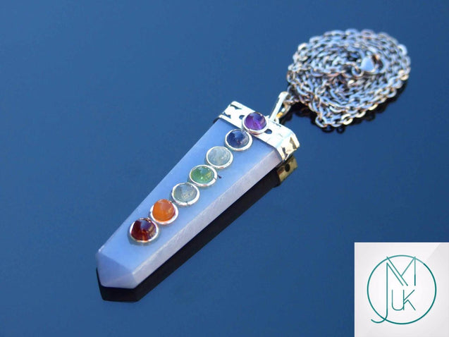 Angelite 7 Chakra Natural Gemstone Pendant Necklace 50cm-Gemstone Necklaces-Michael's UK Jewellery