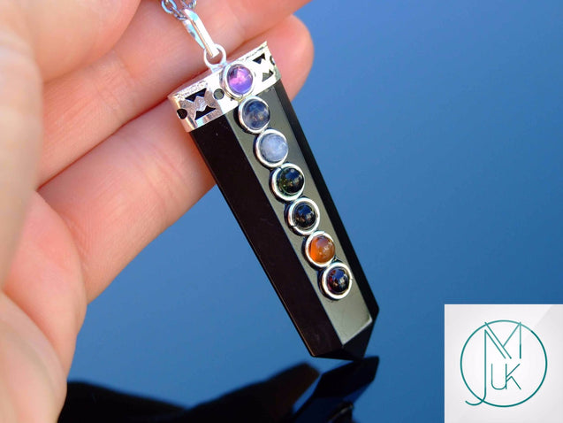 Tourmaline 7 Chakra Natural Gemstone Pendant Necklace 50cm-Gemstone Necklaces-Michael's UK Jewellery