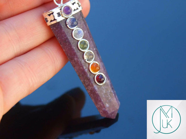 Lepidolite 7 Chakra Natural Gemstone Pendant Necklace 50cm-Gemstone Necklaces-Michael's UK Jewellery