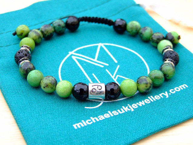 Cancer Chrysoprase Onyx Lava Birthstone Bracelet 6-9'' Macrame-Gemstone Bracelets-Michael's UK Jewellery