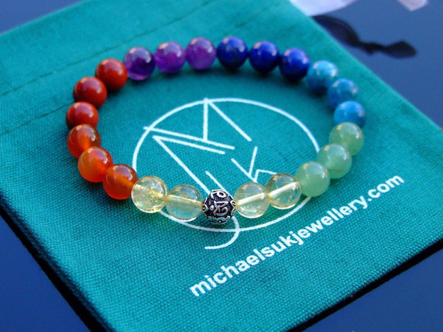7 Chakra Om Sterling Silver Natural Gemstone Bracelet 7-7.5'' Elasticated-Gemstone Bracelets-Michael's UK Jewellery