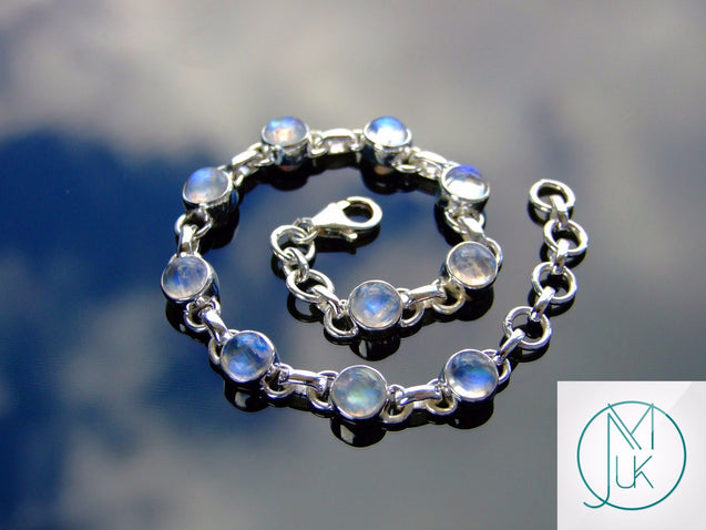 Solid 925 Sterling Silver Rainbow Moonstone Natural Gemstone Bracelet-Sterling Silver Gemstone Bracelet-Michael's UK Jewellery