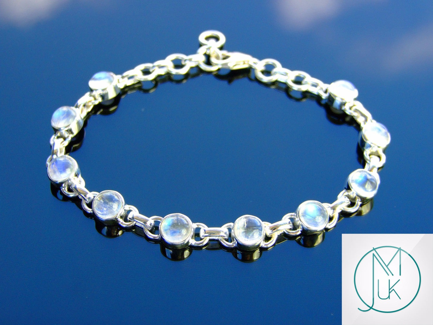Solid 925 Sterling Silver Rainbow Moonstone Natural Gemstone ...