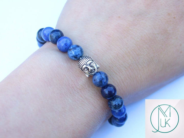 Buddha Dumortierite Natural Gemstone Bracelet 6-9'' Elasticated-Gemstone Bracelets-Michael's UK Jewellery