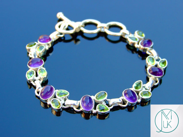 Solid 925 Sterling Silver Amethyst Peridot Natural Gemstone Bracelet-Sterling Silver Gemstone Bracelet-Michael's UK Jewellery