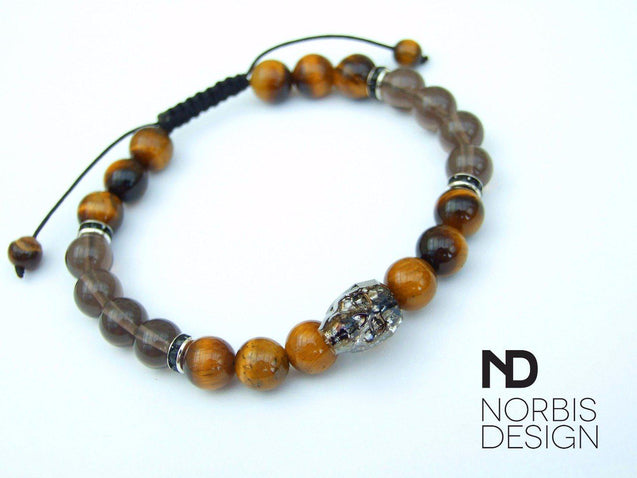 Men's Tigers Eye/Smoky Quartz Natural Gemstone Skull Bracelet with Swarovski Crystal 6-9inch-Norbis Gemstone Bracelets-Michael's UK Jewellery