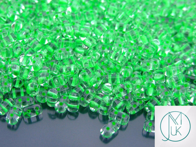 10g Rulla Beads Neon Green Lined-Matubo Glass Beads-Michael's UK Jewellery