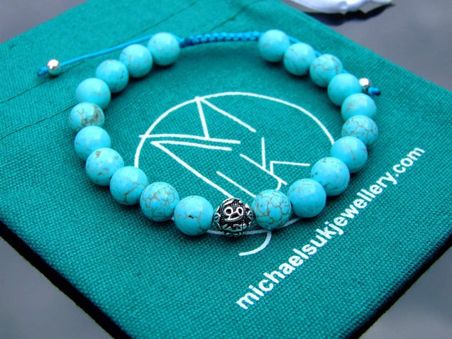 Natural Turquoise Om Sterling Silver Gemstone Bracelet 6-9'' Macrame-Gemstone Bracelets-Michael's UK Jewellery