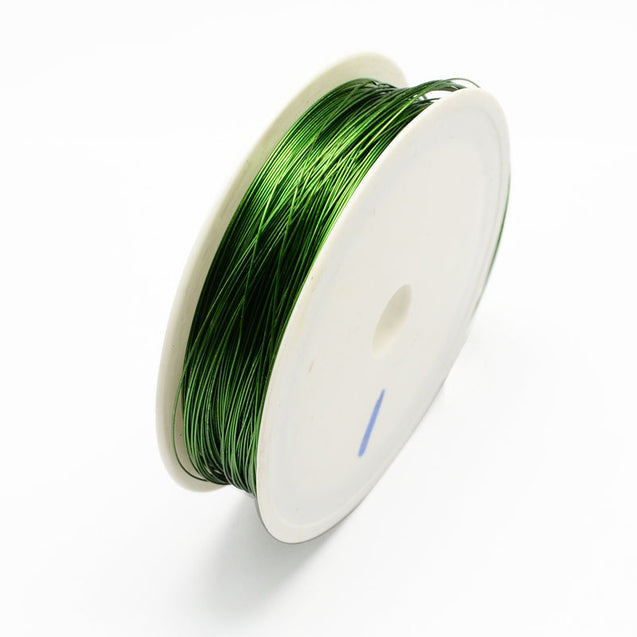Iron Wire Dark Green 0.3mm approx. 20m/roll-Beading Wire-Michael's UK Jewellery