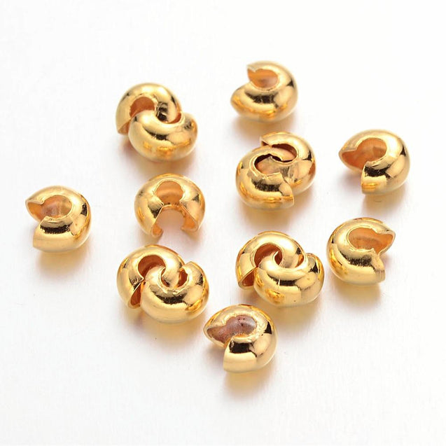 100x Gold Iron 5mm Crimp Bead Covers-Jewellery Making-Michael's UK Jewellery