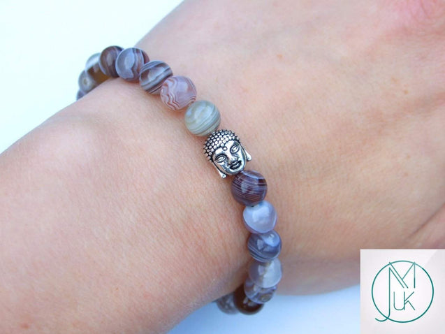 Buddha Botswana Agate Natural Gemstone Bracelet 6-9'' Elasticated-Gemstone Bracelets-Michael's UK Jewellery