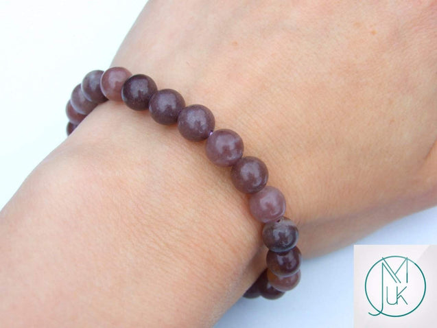 Purple Aventurine Natural Gemstone Bracelet 6-9'' Elasticated-Gemstone Bracelets-Michael's UK Jewellery