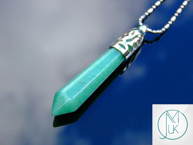 Green Aventurine Long Point Pendant Gemstone Necklace-Gemstone Necklaces-Michael's UK Jewellery