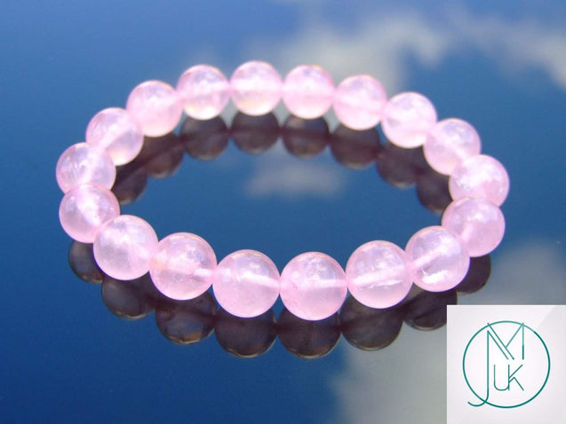 Rose Quartz 10mm Natural Dyed Gemstone Bracelet 6-9'' Elasticated-Gemstone Bracelets-Michael's UK Jewellery