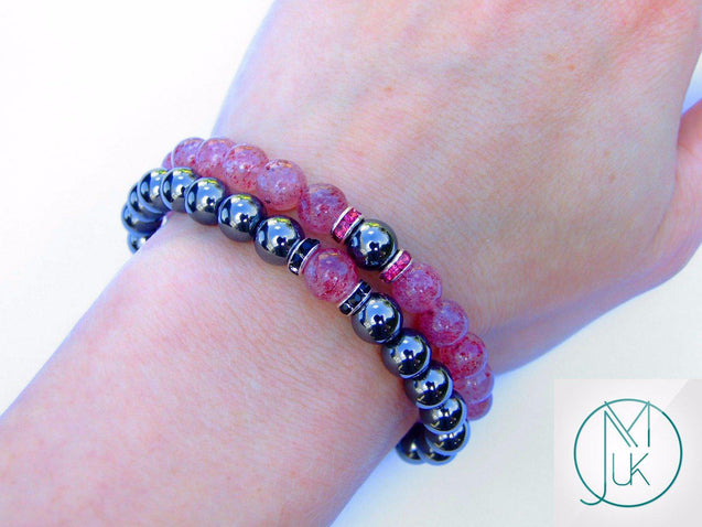 Couple Strawberry/Hematite Natural Gemstone Bracelet 6-9'' Elasticated-Gemstone Couple Bracelets-Michael's UK Jewellery