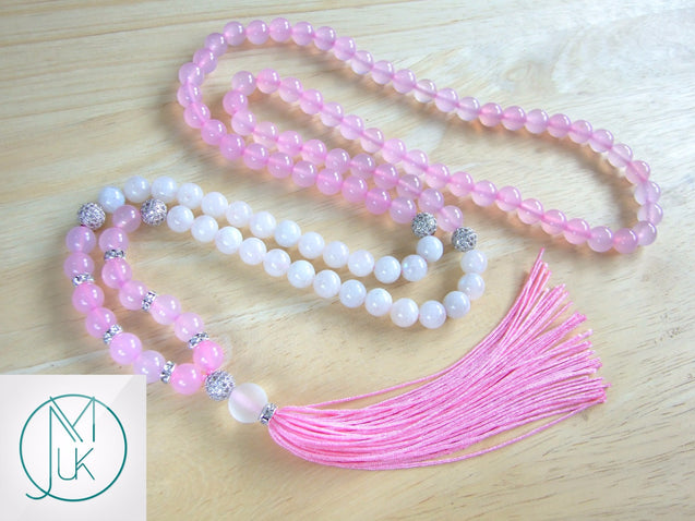 Moonstone/Agate Natural Gemstone Mala Prayer Necklace-Gemstone Necklace-Michael's UK Jewellery