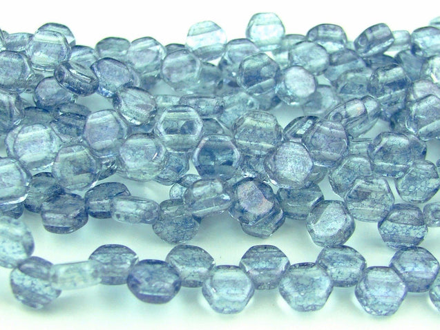 30x Honeycomb Beads 6mm Transparent Blue Luster-Glass Beads-Michael's UK Jewellery