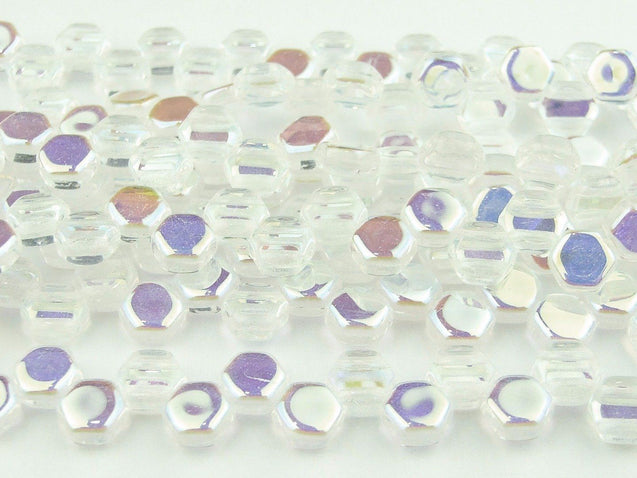 30x Honeycomb Beads 6mm Crystal AB-Glass Beads-Michael's UK Jewellery