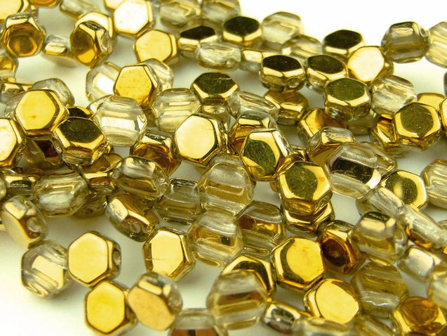 30x Honeycomb Beads 6mm Crystal Amber-Glass Beads-Michael's UK Jewellery