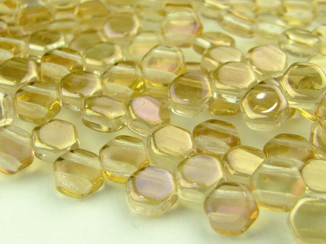 30x Honeycomb Beads 6mm Crystal Clarit-Glass Beads-Michael's UK Jewellery
