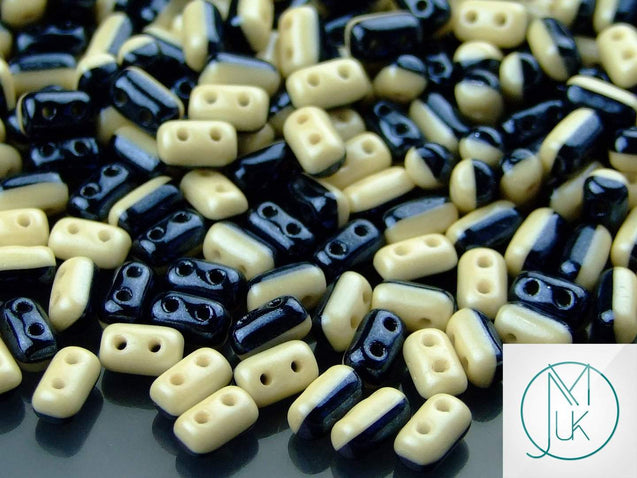 10g Rulla Duets Beads Black White Beige Luster-Matubo Glass Beads-Michael's UK Jewellery