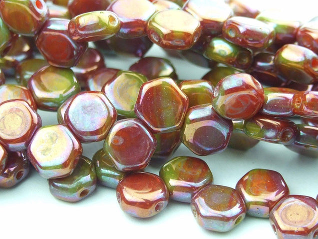 30x Honeycomb Beads 6mm Hodge Podge Orange Nebula-Glass Beads-Michael's UK Jewellery