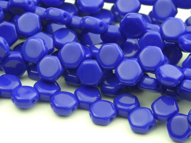 30x Honeycomb Beads 6mm Royal Blue Opaque-Glass Beads-Michael's UK Jewellery