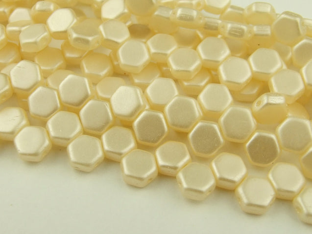 30x Honeycomb Beads 6mm Pastel Cream-Glass Beads-Michael's UK Jewellery