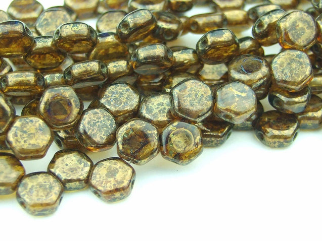 30x Honeycomb Beads 6mm Topaz Bronze Picasso-Glass Beads-Michael's UK Jewellery