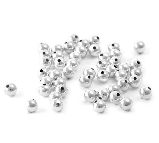 10x Solid 925 Sterling Silver Round Spacer Beads 2mm Hole 0.9mm-Sterling Silver-Michael's UK Jewellery