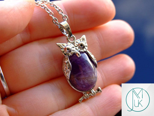 Amethyst Owl Natural Gemstone Pendant Necklace-Pendant Necklace-Michael's UK Jewellery