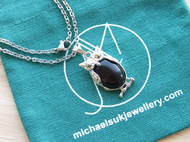 Onyx Owl Natural Gemstone Pendant Necklace-Pendant Necklace-Michael's UK Jewellery
